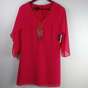 🎆NWT By&By Med Sheer Pink Shift Dress w/ Necklace